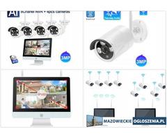 Bezprzewodowy Monitoring 4 Kamer WIFI +Monitor LCD